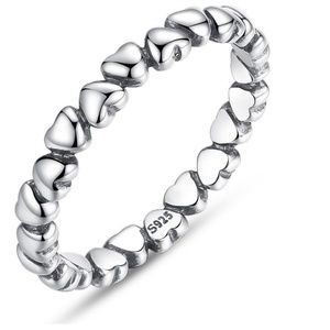 LAST 2 Sterling Silver Heart Eternity Stacker Ring
